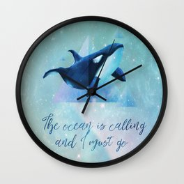 Beach Series Aqua-The Ocean is calling- Animal Whale Typography Wall Clock