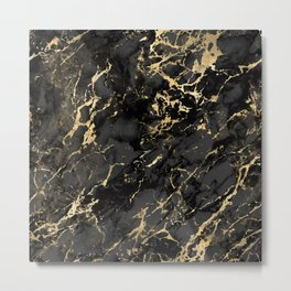 Black & Gold Marble Metal Print