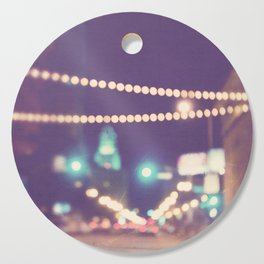 Downtown Los Angeles at night photograph. Sparkle No. 2 Cutting Board