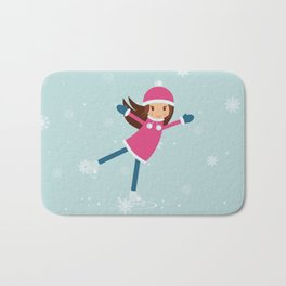 Little girl on skating rink Bath Mat