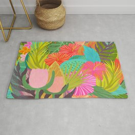 Saturated Tropical Plants and Flowers Rug