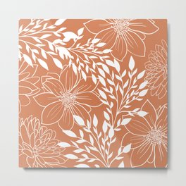 Floral Prints and Leaves, Line Art, Terracotta Metal Print