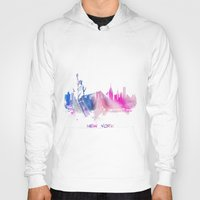 new york skyline Hoodies featuring New York City Skyline  by jbjart