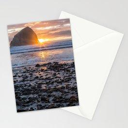 Haystack Rock, Cape Kiwanda, Pacific City at Sunset Stationery Cards