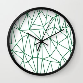 Geometric Cobweb (Olive & White Pattern) Wall Clock