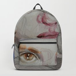 The girl in blue, mixed media drawing Backpack