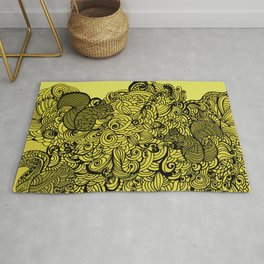 Squirrels Zentangle Drawing Yellow Rug