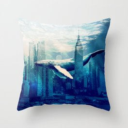 Blue Whale in NYC Throw Pillow