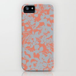 Floral Silhouette Pattern - Broken but Flourishing in Coral iPhone Case