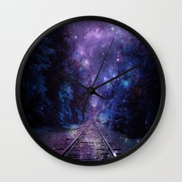 TRAIN tracks Purple Blue Wall Clock
