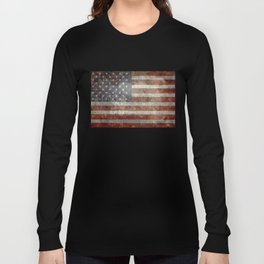 USA flag - Old Glory in dark grunge Long Sleeve T-shirt