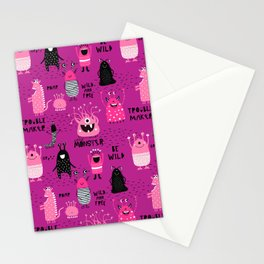 Cute Silly Monsters Pink Purple Pattern Stationery Cards