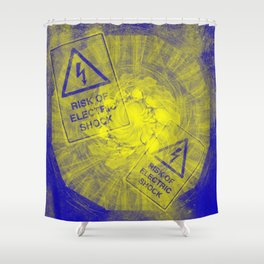 Abstract risk of electric shock Shower Curtain