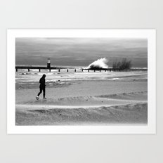 Waves on Lake Michigan in Chicago Art Print
