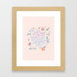 My Grace is Sufficient - 2 Corinthians 12:9 / rose pink Framed Art Print