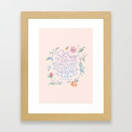 My Grace is Sufficient - 2 Corinthians 12:9 / rose pink Framed Art Print