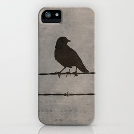 Rustic Black Bird Barbed Wire Modern Country Home Decor Art Matted Picture A476 iPhone Case