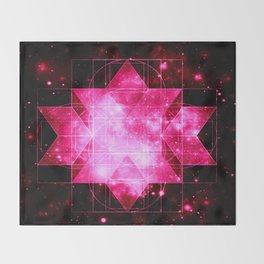 Magenta Galaxy Sacred Geometry Rhombic Hexecontahedron Throw Blanket