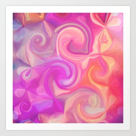 pink and orange swirls Art Print