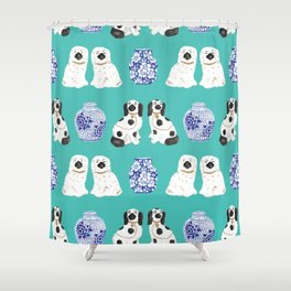 Staffordshire Dogs + Ginger Jars No. 2 Shower Curtain