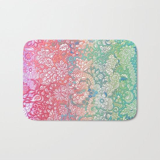 Soft Pastel Rainbow Doodle Bath Mat