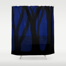Magical Forest at Midnight Shower Curtain
