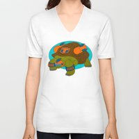tortoise V-neck T-shirts featuring Tortoise by subpatch