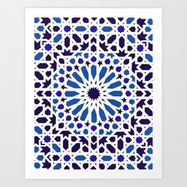 V19 Epic Light Blue Traditional Moroccan Pattern Design . Art Print