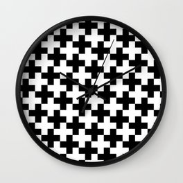 Black and White Crosses/Plus Signs Wall Clock