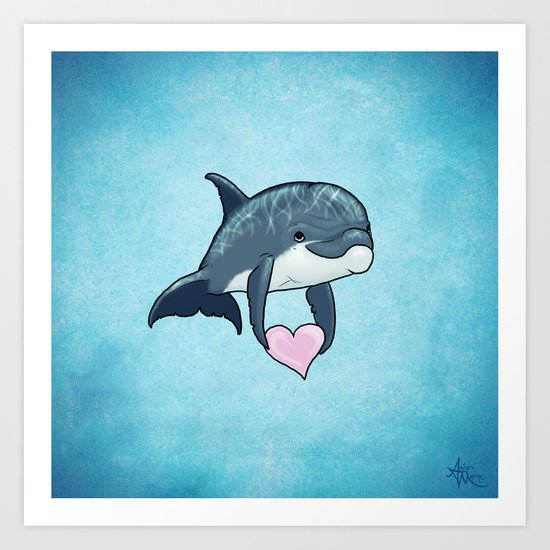 Love Ya! ~ Baby Dolphin ~ Blue Art Print