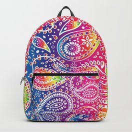 Beautiful Pattern of Paisley Art, Flowers, Doodles - Spectrum and White Backpack