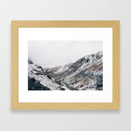Honister Pass covered in snow. Cumbria, UK. Framed Art Print