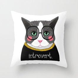 whistleburg - Introvert Cat Throw Pillow