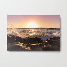 Wave splash against pink sunset - Landscape Photography Metal Print
