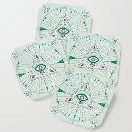 Evil Eye Mandala – Mint Coaster