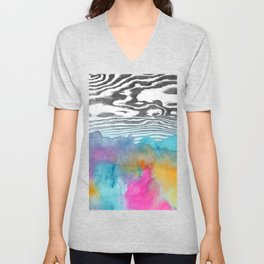 Modern colorful watercolor abstract wood grain Unisex V-Neck