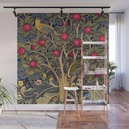 William Morris Woodpecker, Fruit Tree & Poppy Flower Garden Tapestry Textile Floral Print Wall Mural