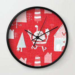 Santa is in Town Red #Holiday #Christmas Wall Clock