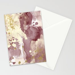 Burgundy abstract painting Stationery Cards