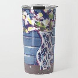 Blue Flowers in Vase Travel Mug