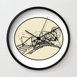 Date Fruit Tied Rail Track Train Coming Oval Wall Clock
