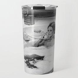 Brigitte Bardot in Tub, Black and White Travel Mug