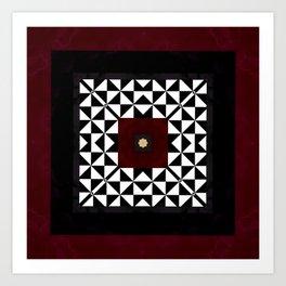 Ruby Red Marble w/ Blk & White Geometrica Pattern Insert Art Print
