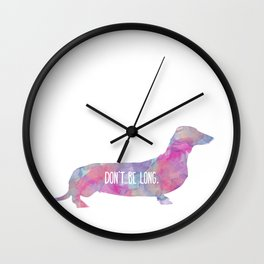 Dachshund, Watercolor Animal Pet Dog Painting, Quirky Cute Illustration Fun Wall Clock