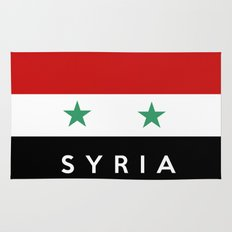 Syria country flag name text Rug
