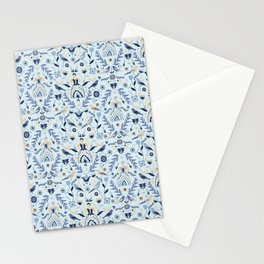 Blue Folk Milk Maids Pattern Stationery Cards