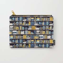 Book Case Pattern - Blue Yellow Carry-All Pouch