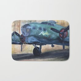 Vintage Plane I Bath Mat