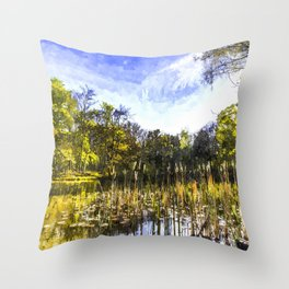 The Bulrush Pond Art Throw Pillow