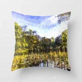 The Bulrush Pond Art Throw Pillow